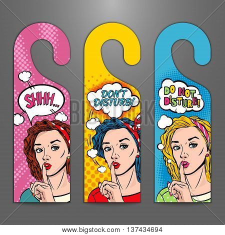 Set with door signs. Do not disturb. Vector illustration with young girls in pop art style
