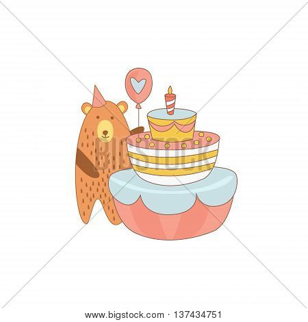 Bear And A Giant Birthday Cake Light Color Flat Cute Illustration In Childish Outlined Vector Design