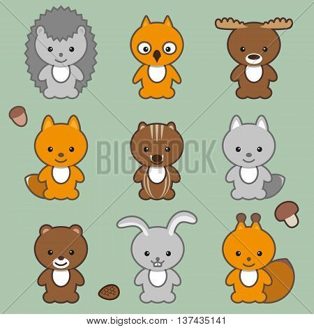 Set of forest animals. Cartoon vector illustration. Grouped for easy editing.