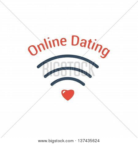 Vector Symbol of Online Dating. Wifi network icon red heart and the words isolated on white background