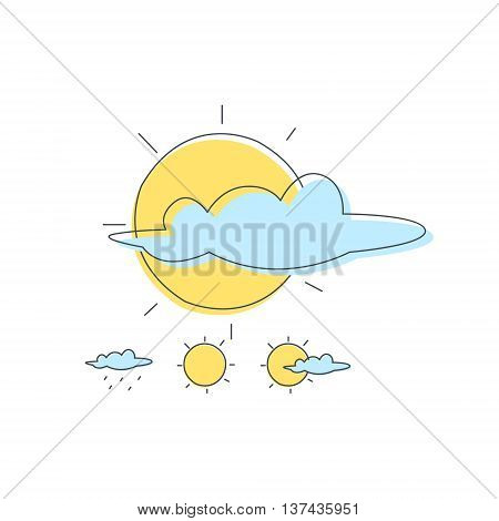 Weather Forecast Sun And Cloud Combinations Light Color Flat Cute Illustration In Simplified Outlined Vector Design