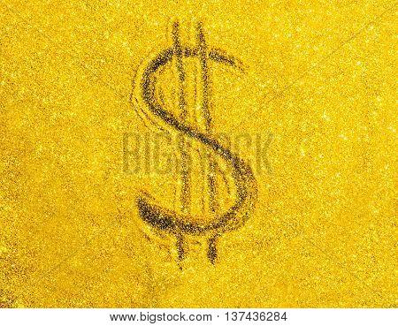 US Dollar symbol on gold color background.