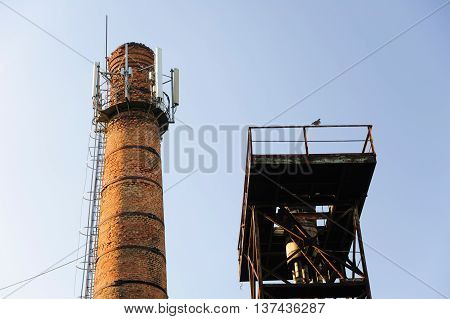 Power plant red pipe with cellular aerials