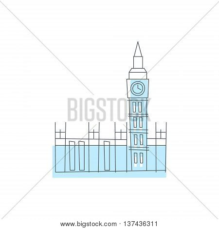 Westminster Abbey Building In London Light Color Flat Cute Illustration In Simplified Outlined Vector Design