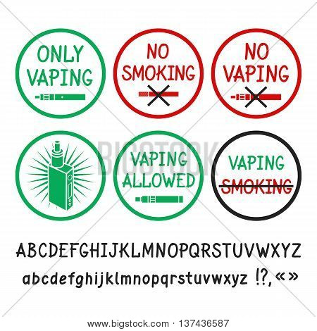 Prohibition signs. No smoking no vaping. Allowing signs. Vaping allowed. Vector hand-drawn letters.