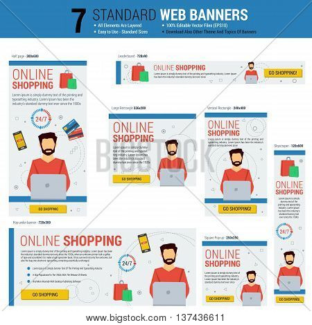Vector template of seven web standard size banners on topic - SHOPPING ONLINE. Most common sizes of banners. Each on its own layer. Easily editable. See other topics of web banners