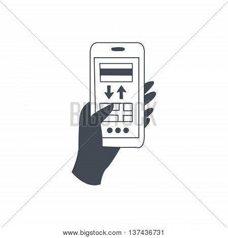Smartphone Translation Application Black And White Hand Drawn Illustration In Simplified Graphic Style On White Background