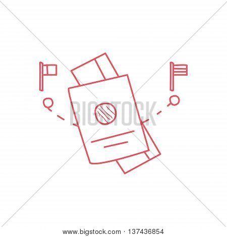 Passport, Ticket And The Points Of Departure And Destination Hand Drawn Childish Illustration In Funny Comic Style On White Background