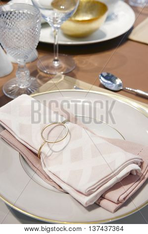 Classic table set decoration ready to use. Horizontal format