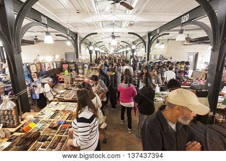 NEW ORLEANS LA USA - APR 16 2016: Traditional French Market at the French Quarter in the city of New Orleans. Louisiana United States