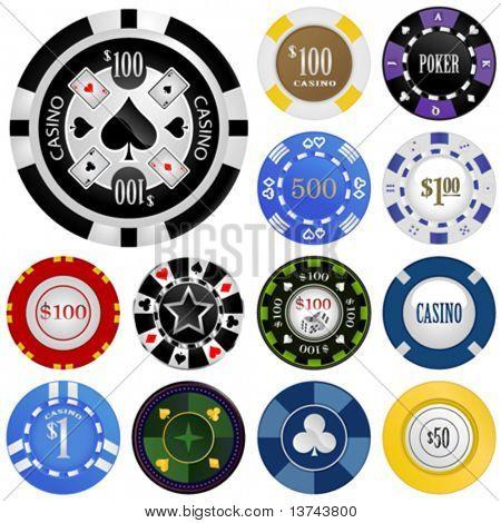 Glücksspiel Chips Vektor festgelegt