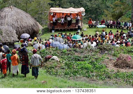 PAPUA PROVINCE INDONESIA:Christian preaching in the Papuan village of Baliem Valley on New Guinea Island Indonesia on December 31 2010