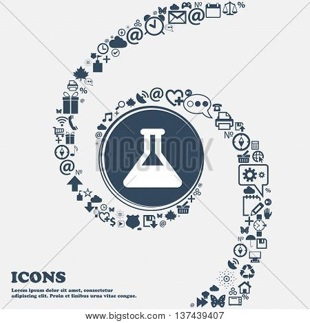 Conical Flask Icon Sign In The Center. Around The Many Beautiful Symbols Twisted In A Spiral. You Ca