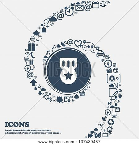 Award, Medal Of Honor Icon Sign In The Center. Around The Many Beautiful Symbols Twisted In A Spiral