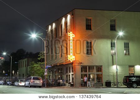 NEW ORLEANS LA USA - APR 16 2016: Bar on the street corner in the city of New Orleans. Louisiana United States