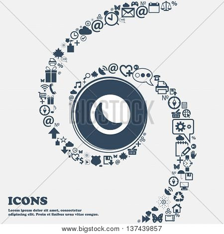 Moon Icon Sign In The Center. Around The Many Beautiful Symbols Twisted In A Spiral. You Can Use Eac