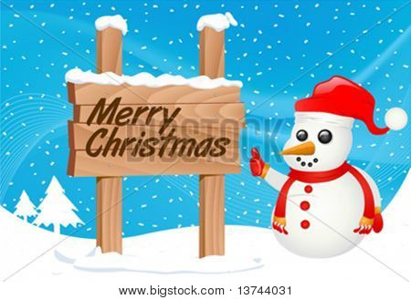 snowman and sign vector