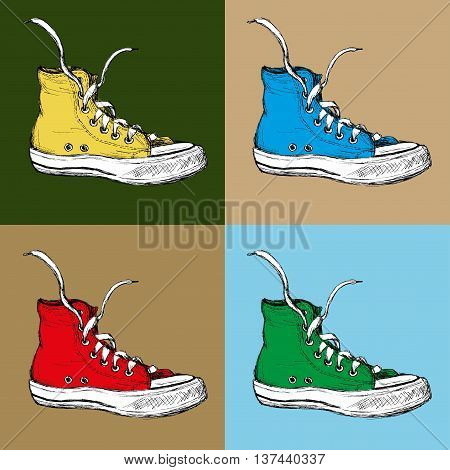 Four Sneakers on a colored background hand drawing vector illustration