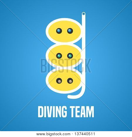 Diving and snorkeling vector logo icon symbol emblem sign design element. Navy diving illustration