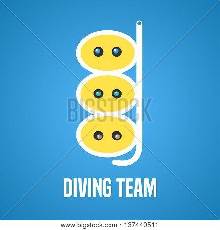 Diving and snorkeling vector logo icon symbol emblem sign design element. Navy diving illustration