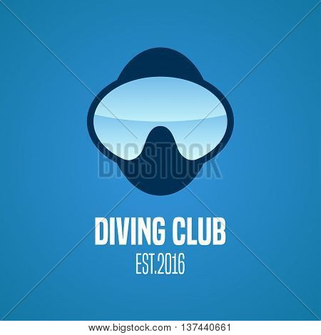 Diving and snorkeling vector logo icon symbol emblem sign design element. Nautical diving concept illustration