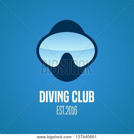 Diving and snorkeling vector logo icon symbol emblem sign design element. Nautical diving concept illustration