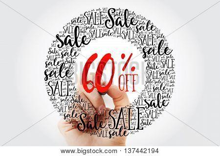 Hand Writing 60% Off Sale Circle Word Cloud