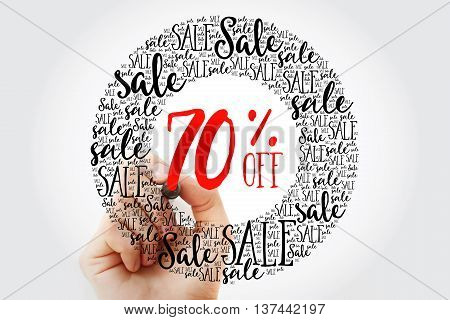 Hand Writing 70% Off Sale Circle Word Cloud