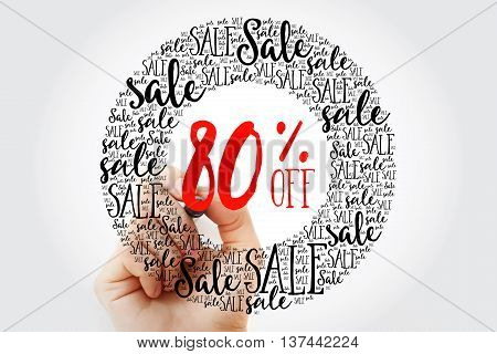 Hand Writing 80% Off Sale Circle Word Cloud