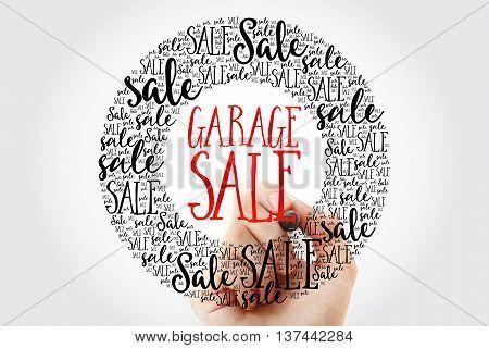 Hand Writing Garage Sale Circle Word Cloud