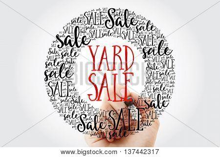 Hand Writing Yard Sale Circle Word Cloud