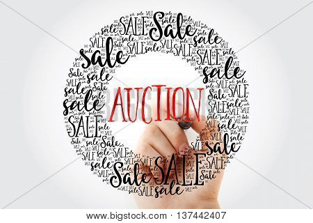 Hand Writing Auction Circle Word Cloud