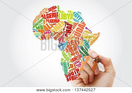 Hand Showing African Countries Map