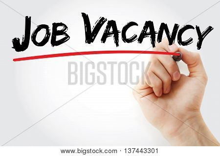 Hand Writing Job Vacancy With Marker