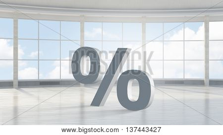Big percentage sign . Mixed media