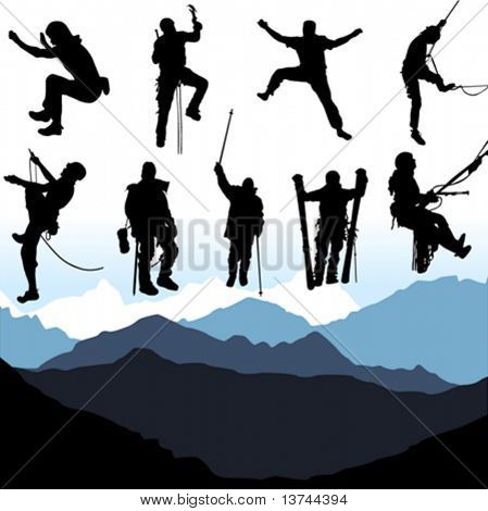 climbers and mountain set