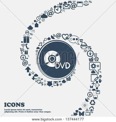 Dvd Icon Sign In The Center. Around The Many Beautiful Symbols Twisted In A Spiral. You Can Use Each