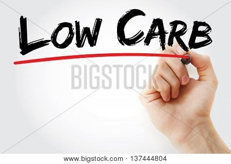 Hand Writing Low Carb With Marker