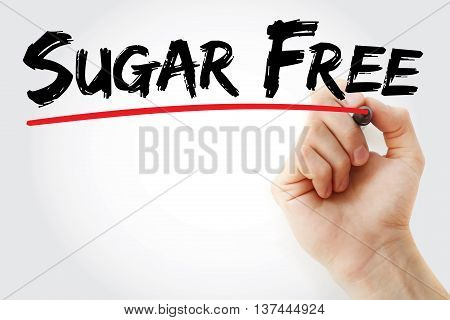 Hand Writing Sugar Free With Marker
