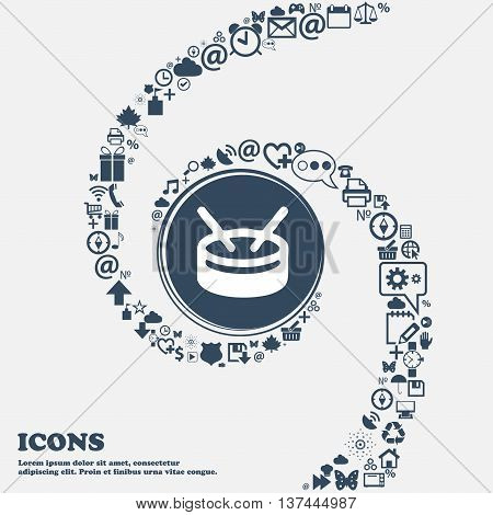 Drum Icon Sign In The Center. Around The Many Beautiful Symbols Twisted In A Spiral. You Can Use Eac