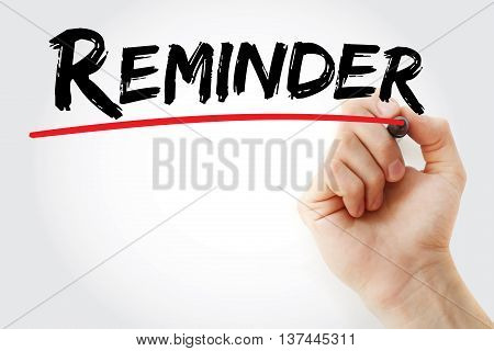 Hand Writing Reminder With Marker
