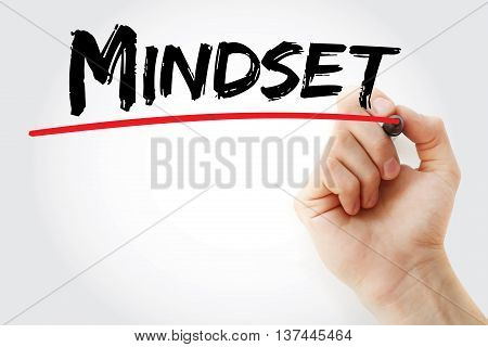 Hand Writing Mindset With Red Marker