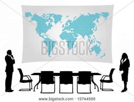 business people meeting in front of world map