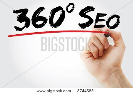Hand Writing 360 Degrees Seo With Marker