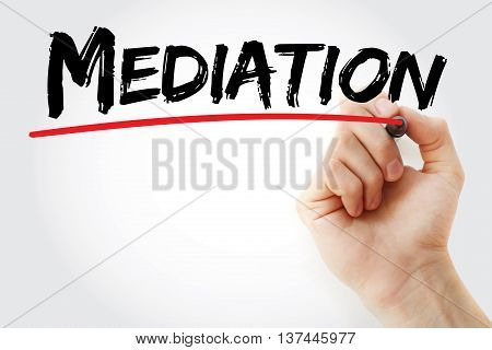 Hand Writing Mediation With Marker