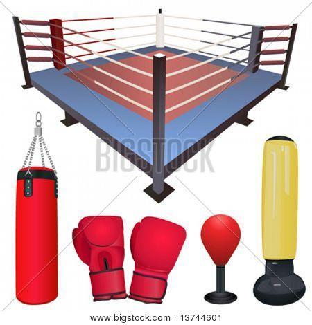 fighting accessories vector set