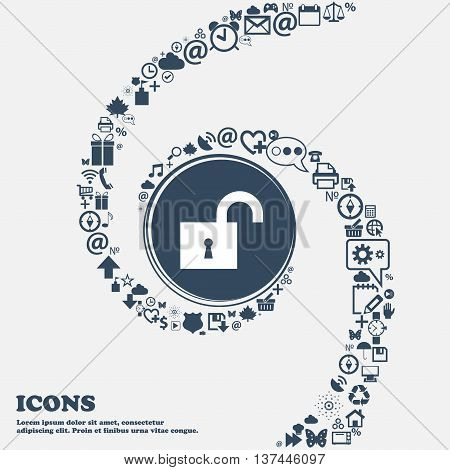 Open Lock Icon Sign In The Center. Around The Many Beautiful Symbols Twisted In A Spiral. You Can Us