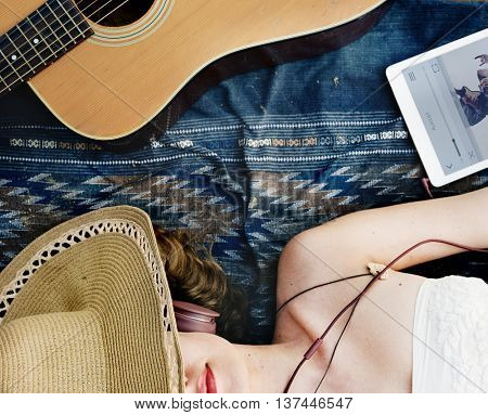 Girl Guitar Beach Music Song Headphone Rhythm Concept