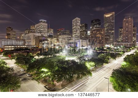 Houston downtown district illuminated at night. Texas United States