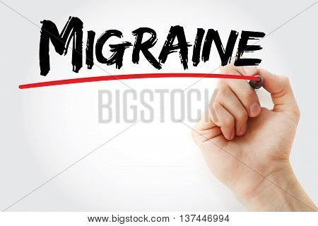 Hand Writing Migraine With Marker